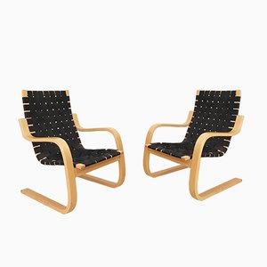 Vintage Model 406 Armchairs by Alvar Aalto for Artek, Set of 2