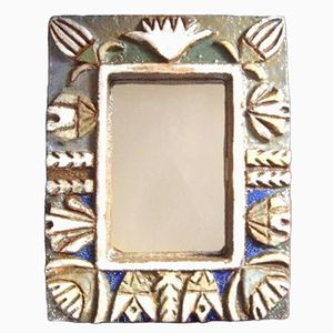 Mid-Century Keramik Spiegel von Les Argonautes