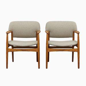 Armehnstühle aus Eiche & Heller Wolle von A. B. Madsen & E. Larsen für Fritz Hansen, 1960er, 2er Set