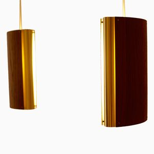 Teak and Brass Pendant Lamps by Bent Karlby for Lyfa, 1975, Set of 2