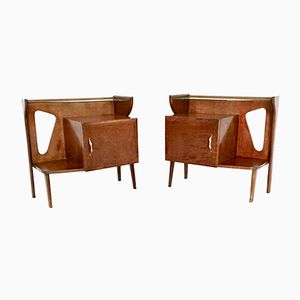 Italian Briar and Glass Night Stands, 1950s, Set of 2