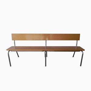 Long Vintage Bench in Chrome and Wood