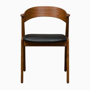 Schwarzer Nr. 32 Stuhl aus Teak & Schwarzem Leder von Kai Kristiansen für Korup Stolefabrik, 1960er