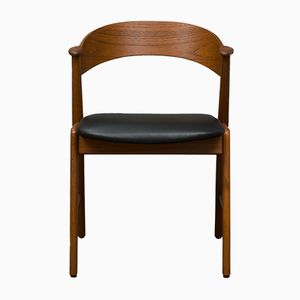 Sedia modello nr. 32 in teak e pelle nera di Kai Kristiansen per Korup Stolefabrik, anni '60