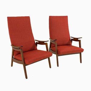 Chaises Mid-Century Modernes à Haut Dossier Rouges, 1960s, Set de 2