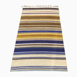 Mid-Century Swedish Striped Hand Woven Wall Rug