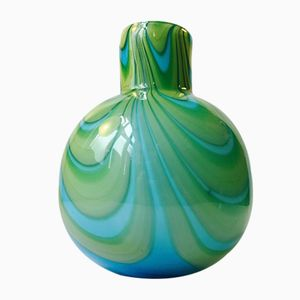Italian Mint Blue & Green Murano Glass Vase by Carlo Moretti, 1970s