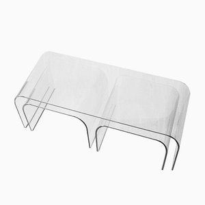 Curved Glass Panca Coffee Tables by Vittorio Livi for Fiam, Set of 3