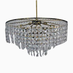 Large Crystal Chandelier, 1950s