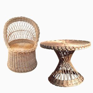 Vintage Rattan Chair with Table, 1960s