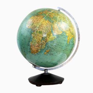 Beleuchteter Deutscher Vintage Globus aus Glas
