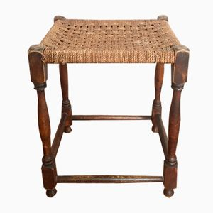 Wooden Bohemian Vintage Stool with Woven Seat