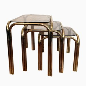 Chrome & Smoked Glass Nesting Tables, 1970s