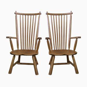 Vintage Oak Easy Chairs, Set of 2
