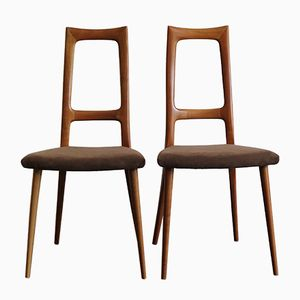 Cherry Wood Dining Chairs, 1960s, Set of 2