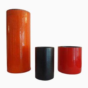 Zylinderförmige Vasen von Georges Jouve, 1950er, 3er Set