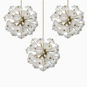 Large Brass and Glass Sputnik Chandeliers, 1960s, Set of 3