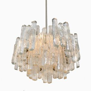 Large Three-Tiered Ice Glass Chandelier from Kalmar, 1970s
