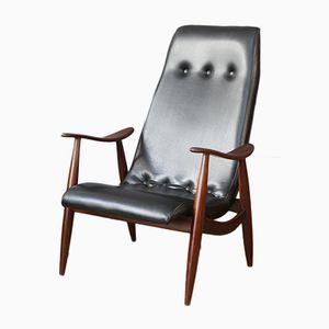 Vintage Black Skai Armchair by Louis van Teeffelen