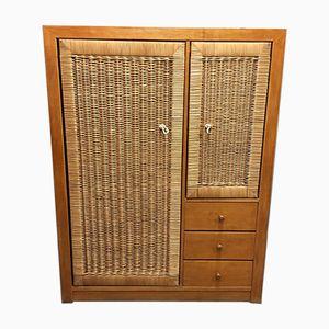 Oak & Wicker Wardrobe, 1950s