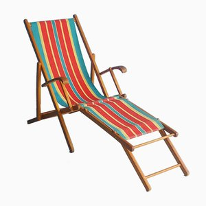 Vintage Folding Wooden Beach Chair, 1960s