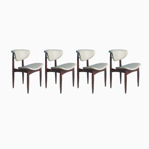 Teak Scandinavian Dining Chairs with White Leatherette Upholstery, 1950s, Set of 4