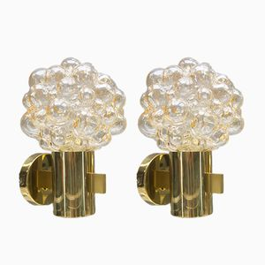 Golden Bubble Glass Wall Lamps by Helena Tynell for Limburg, 1960s, Set of 2