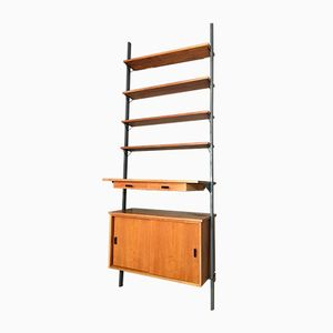 Scandinavian Teak and Metal Wall Unit with Writing Top