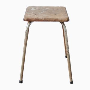 Vintage Industrial Stool with Wooden Seat