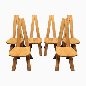 S 45 Chlacc Elm Chairs by Pierre Chapo, 1960s, Set of 6