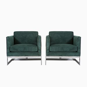 Leather & Suede Armchairs by Milo Baughman for Thayer Coggin, Set of 2