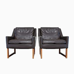 Vintage Leather Lounge Armchairs by Rudolf Glatzel for Kill International, Set of 2