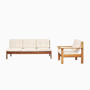 Dänisches Vintage Kirschholz Sofa & Sessel von Knoll