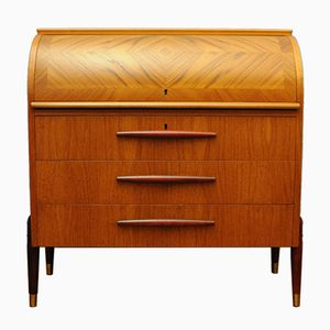 Swedish Mid-Century Roll-Top Teak Secretary