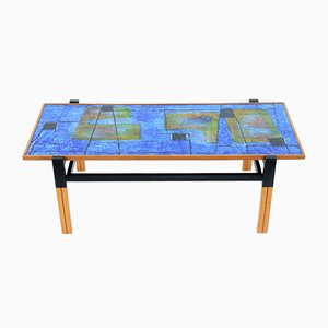 Mid-Century Italian Coffee Table with an Enamelled Top with Abstract Decoration, 1950s
