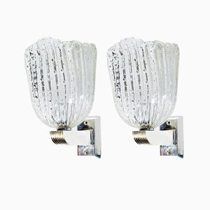 Art Deco Murano Glass Wall Lights from Barovier, 1930s, Set of 2