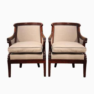 Antique Louis Philippe Mahogany Armchairs, Set of 2