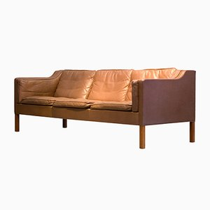 Mid-Century Model 2213 Brown 3-Seater Leather Sofa by Børge Mogensen for Fredericia, 1977