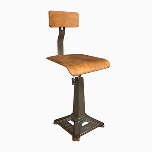 Vintage Industrial Workshop Stool from Singer, 1930s