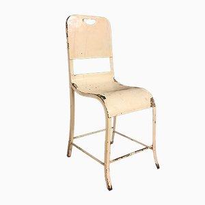 Vintage White Industrial Riveted Metal Chair