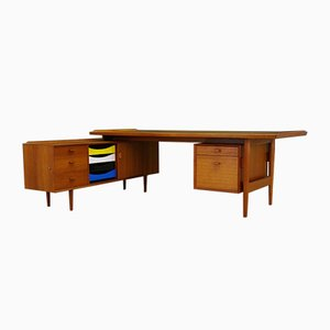 Vintage Teak Desk with Sideboard by Arne Vodder for Sibast