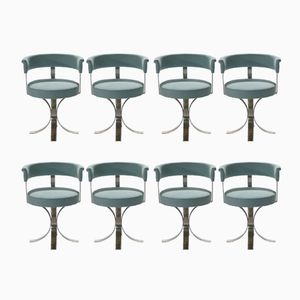 Brushed Steel Chairs, 1970s, Set of 8