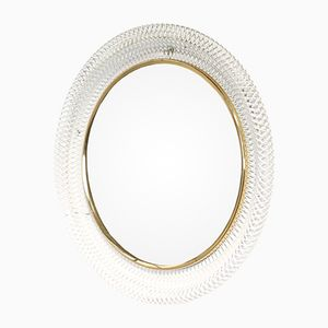 Round French Wall Mirror, 1950s
