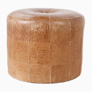 Vintage Cognac-Colored Leather Pouf, 1960s