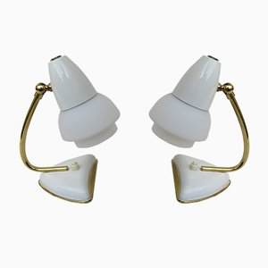 Italian White Night Stand Lamps, 1950s, Set of 2