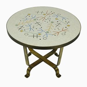 Mosaic Side Table with Brass Base, 1950s