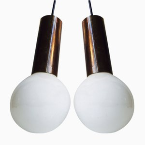 Mid-Century Single-Ball Brass Pendant Lights by Frimann, 1960s, Set of 2