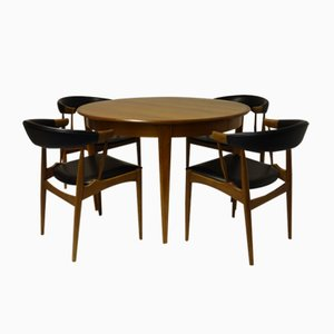 Dining Table with Two Extensions & Four Chairs from Brdr. Andersen, 1966