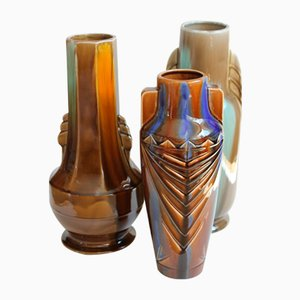 Art Deco Vases from August Mouzin et Cie, 1930s, Set of 3