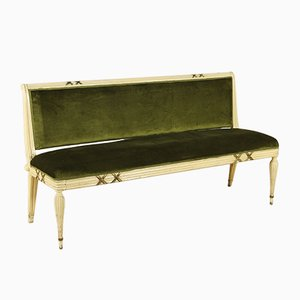Italienisches Mid-Century Sofa aus Holz & Samt